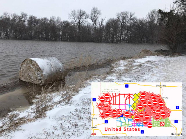 "Farms and towns were flooded across at least four states on Thursday in a storm called a ""bomb cyclone"" that shut down the entire state of Nebraska from snow, rain and high winds, combined with extensive snow melt. (Photo courtesy of Leisha Kohl)"