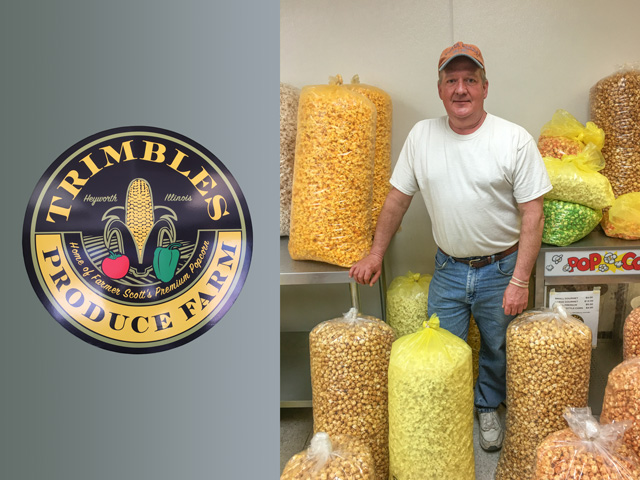 Scott Trimble may be surrounded by popcorn this time of the year, but it won't be long before the fields will be calling to plant the raw ingredient needed for his tasty snacks. (DTN photo by Pam Smith)