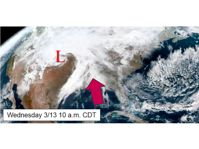 Low pressure in western Kansas on March 13 had hurricane-like intensity. Large amounts of Gulf of Mexico moisture added either rain or snow to violent winds. (NOAA image from Satellite Videos)