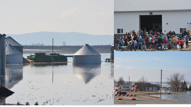 A farm along the eastern edge of the Missouri River bottoms was caught with standing water flooding major machinery and grain bins. Hundreds of residents in Glenwood, Iowa, came out to sand bag, trying to protect the neighboring town of Pacific Junction and the city's water plant. (DTN photos by Chris Clayton)