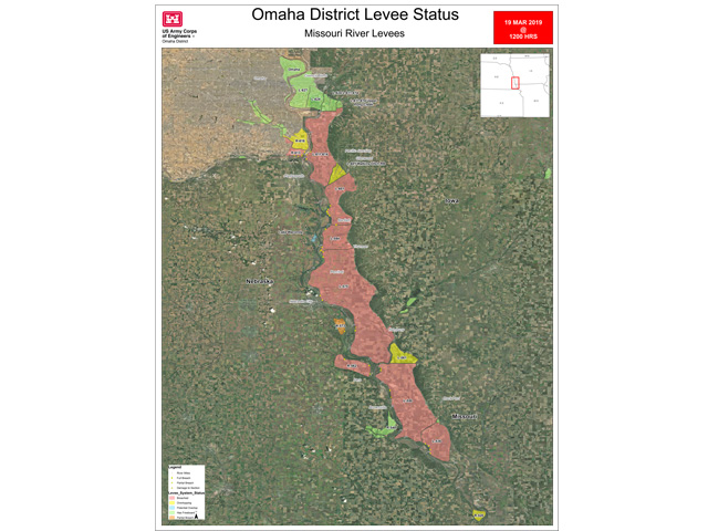 The majority of levees along the Missouri River in Nebraska, Iowa and Missouri have been breached (areas in red). (Graphic courtesy of U.S. Army Corps of Engineers)