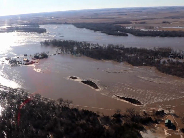 Screenshot of video taken by Nebraska State Patrol by helicopter over the Fremont, Nebraska, area on March 15 showing the flooding from the Platte River. According to the patrol, each of the little islands had dozens of cattle on it, stranded with no place to go. (Nebraska State Patrol video)