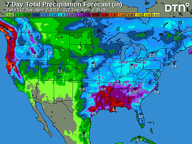 The seven-day total precipitation forecast shows the active weather pattern in the Midwest and southern U.S. regions, with a drier pattern in the northwest part of the western Midwest and also for the Northern Plains. (DTN graphic)