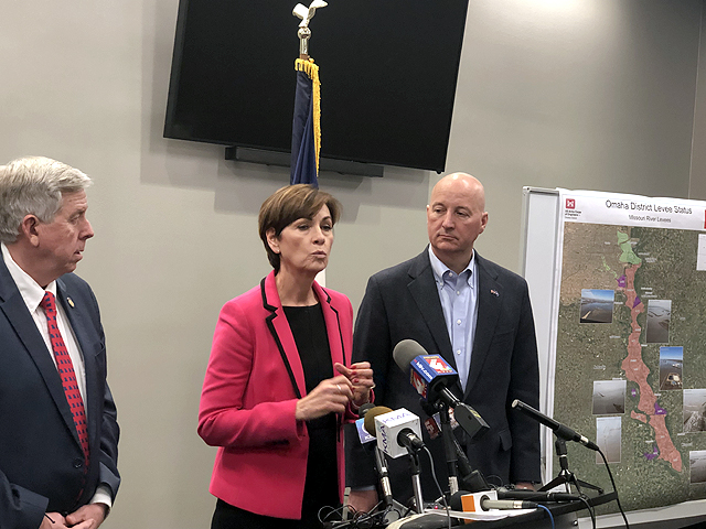 From left to right, Missouri Gov. Mike Parson, Iowa Gov. Kim Reynolds and Nebraska Gov. Pete Ricketts hold a press conference Wednesday afternoon following a meeting on the current status of the Missouri River with staff from the Army Corps of Engineers in Council Bluffs, Iowa. (DTN photo by Chris Clayton)
