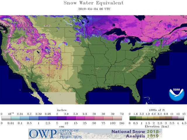 This graphic shows the water equivalent of the snow cover still in place from eastern North Dakota and northern Minnesota to Manitoba and Ontario. (Office of Water Prediction graphic)