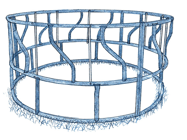 Narrow openings for round bale feeders (Progressive Farmer image by Ralph A. Mark Jr.)