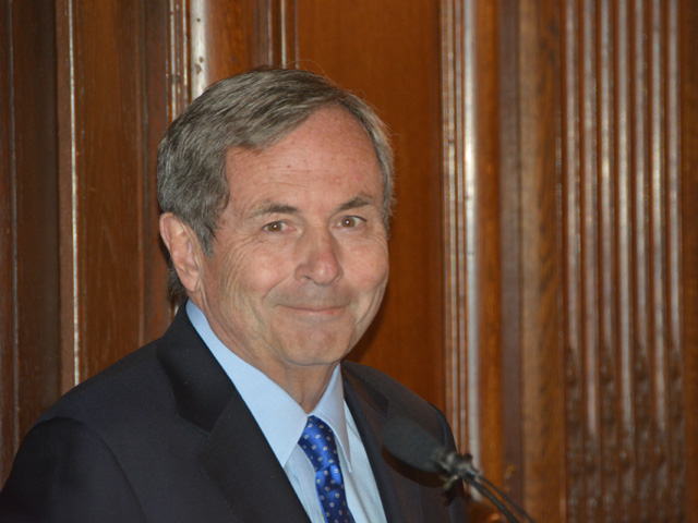 David MacNaughton, Canada's ambassador to the U.S., talks to reporters Monday about the USMCA trade deal and retaliatory tariffs between the U.S. and Canada over steel and aluminum. (DTN photo by Chris Clayton)