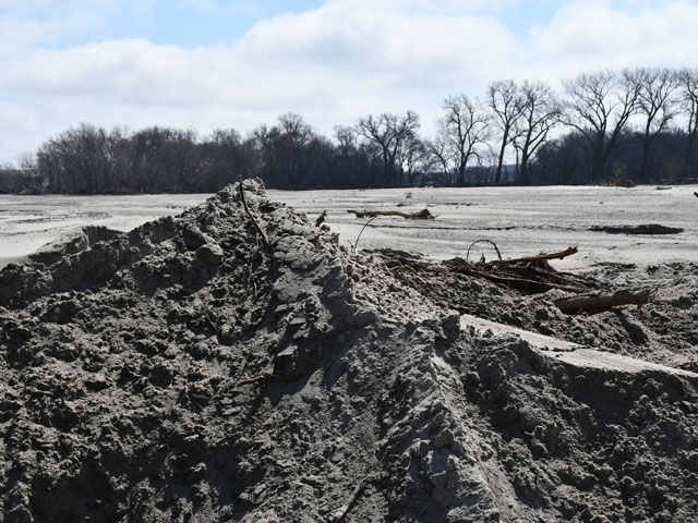 A pile of sand sits in a flooded field just east of the Elkhorn River near Scribner, Nebraska. Producers with flooded fields now face the daunting task of removing the large amount of sand deposited on their fields. DTN photo by Russ Quinn.