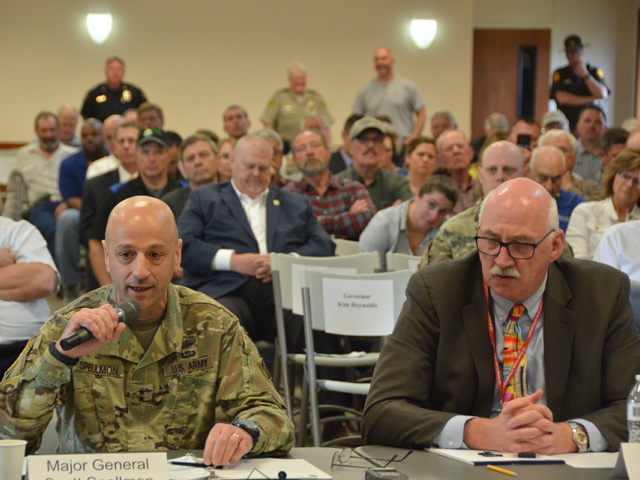 At a U.S. Senate hearing in Glenwood, Iowa, on Wednesday, Army Corps of Engineers Major General Scott Spellmon (left) and John Remus, chief of Missouri River Basin water management, both testified about how last month's floods occurred and what can be done to mitigate such flooding. Spellmon said little could have been done to stop the flooding downstream from Corps dams. (DTN photo by Chris Clayton)