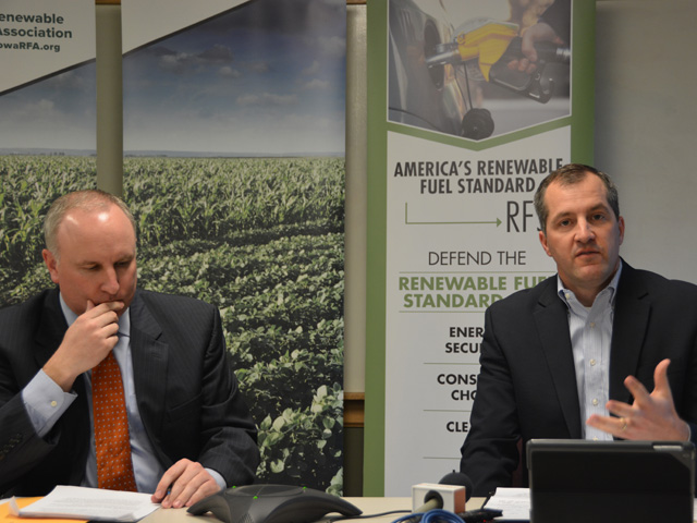 Monte Shaw, executive director of the Iowa Renewable Fuels Association (left), listens as Mike Naig, Iowa's secretary of agriculture, challenges the requests by small refiners to be exempt from the Renewable Fuel Standard. (DTN photo by Chris Clayton)