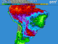 The seven-day total precipitation forecast continues to show a pattern of favorable moisture is maintained for development of second-crop corn in Brazil (DTN graphic)