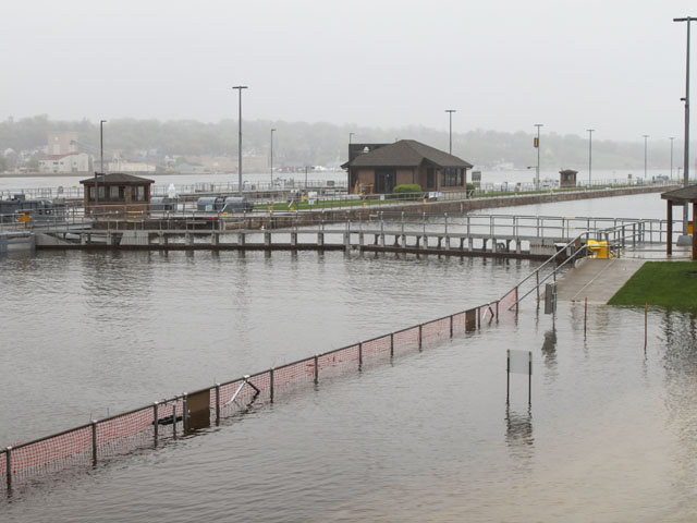 Flooding at Lock 15 on the Mississippi River located between Rock Island, Illinois, and Davenport, Iowa, has caused the USACE to close the lock until at least May 8, or when the river recedes. (Photo by U.S. Army Corps of Engineers Rock Island District)