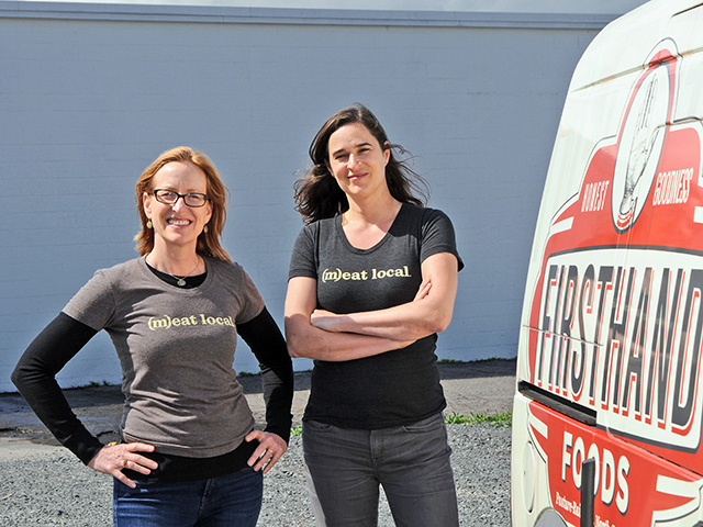 Jennifer Curtis (left) and Tina Prevatte  started Firsthand Foods in 2010 to fill the role between specialty meat producers and buyers, Image by Becky Mills