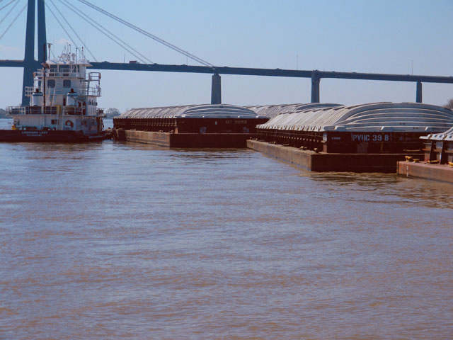Pictured is tow parking barges near Destrehan, Louisiana. Just as the Mississippi River was starting to recover from months of flooding, Category 1 Hurricane Barry made landfall in Louisiana on July 13, causing the Mississippi River to rise again. (DTN Photo by Mary Kennedy)