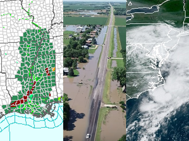 Heavy, flooding rain brought a common bond to the Mississippi Delta, south-central Nebraska and Washington, D.C., during the week of July 8-13. (NOAA flood graphic; Wood River flood shot courtesy of KVRN/RRN; NOAA graphic)