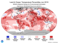 Many areas of the world had record-high temperatures in June 2019. There were no areas with record lows for the month. (NOAA graphic)