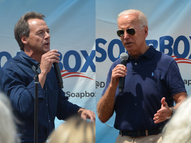 Montana Gov. Steve Bullock (left) and former Vice President Joe Biden were the first of more than 20 Democratic presidential candidates to stump at the Iowa State Fair. Candidates were focusing heavily on rural messages throughout the week. (DTN photos by Chris Clayton)