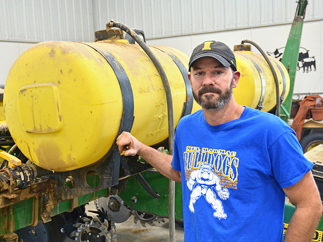 Neal Wikner, Farmersburg, Iowa, uses a custom blend of starter fertilizer to help seedlings thrive. (Progressive Farmer image by Matthew Wilde)