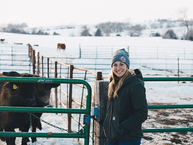 Hannah Esch wants to bridge the gap between consumers and the farm with her family's branded beef business. (DTN/Progressive Farmer photo courtesy of Oak Barn Beef)