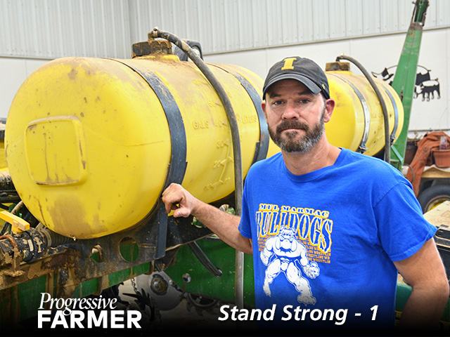 Neal Wikner, Farmersburg, Iowa, uses a custom blend of starter fertilizer to help seedlings thrive. (DTN/Progressive Farmer photo by Matthew Wilde)