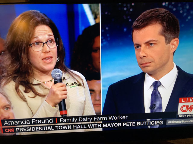 "Amanda Freund, who works on her family's dairy farm in Connecticut, told South Bend, Indiana, Mayor Pete Buttigieg the farm is facing unprecedented weather and economic challenges. She asked what Buttigieg could do ""to bring stability back to the ag sector"" so farmers can manage the regulations that will come with combatting climate change and ""stay in business."" (Screenshot from CNN broadcast)"