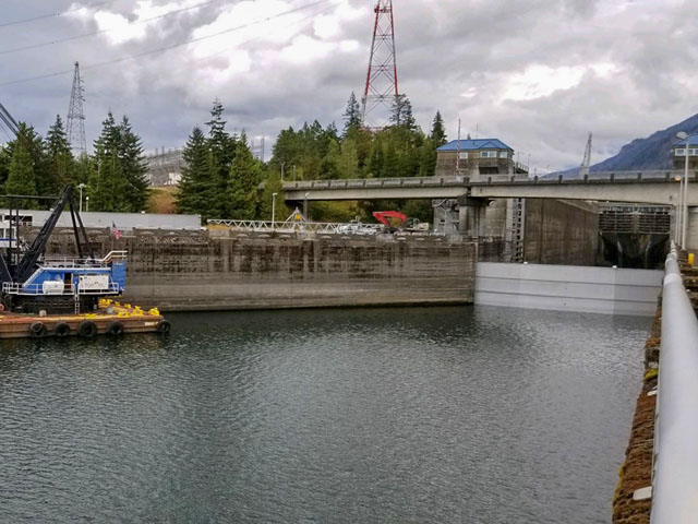 The U.S. Army Corps of Engineers and experts placed stoplogs (a temporary metal structure used to retain a volume of water) and started to drain Bonneville Lock on Sept. 7 to begin the repair process and return the lock to operation as quickly and safely as possible. (Photo courtesy of the USACE Portland District)