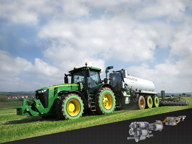 John Deere won the only gold of the competition for its eAutoPower gearbox for its new 8R large tractors. The work represents the first electro-mechanical power split gearbox in agricultural technology. (Photo courtesy of Agritechnica)