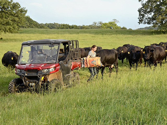 Jamie Blythe found the Can-Am Defender to be as multipurpose as her operation. (Progressive Farmer image by Brent Warren)