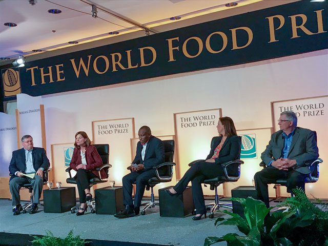 Polly Ruhland, CEO of the United Soybean Board, second from left, talks about the role of soybeans in global food security, and the need for more collaboration among proteins, during a panel discussion at the World Food Prize. Also on the panel, left to right: Kirk Leeds, CEO of the Iowa Soybean Association; Samuel Kwame Ntim Adu, CEO of Yend Agro Group in Ghana, Africa; Liz Hare, executive director of the World Initiative for Soy in Human Health; and John Heisdorffer, chairman of the American Soybean Association. (Courtesy photo United Soybean Board)