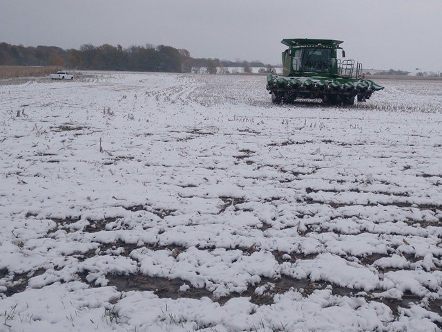Snow and wet conditions stalled harvest in many areas of the Midwest this week. It's just one more delay for farmers that have battled weather throughout the 2019 growing season. (Photo by Brad Peel)