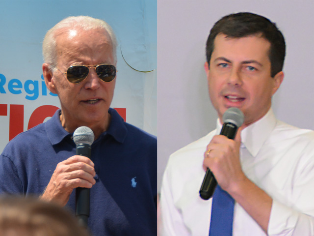 South Bend, Indiana, Mayor Pete Buttigieg, 37, (right) is now one of the frontrunners in the Iowa caucuses, but former Vice President Joe Biden, 77, still holds the lead in national polls. Still, there are at least 18 Democrats running for president two months out from the Iowa caucuses. (DTN photos by Chris Clayton)