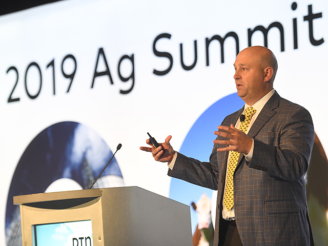 Luke Chandler, an Australian who now is chief economist for Deere and Co., opened the DTN 2019 Ag Summit, highlighting global macroeconomic issues and some key signals moving forward in agricultural production and demand. (DTN/Progressive Farmer photo by Joel Reichenberger)