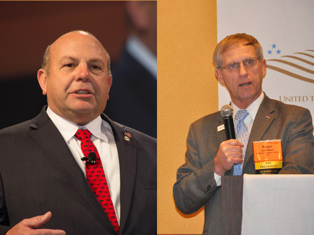 Zippy Duvall (left), president of the American Farm Bureau Federation, and Roger Johnson, president of the National Farmers Union, both expressed their support for the U.S.-Mexico-Canada Agreement this week. (DTN photos by Chris Clayton)