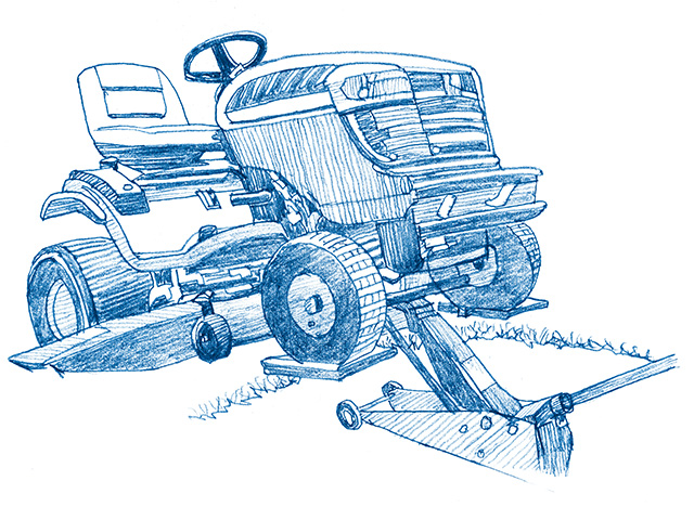 Mower lift support system (Progressive Farmer image by Ralph A. Mark Jr.)
