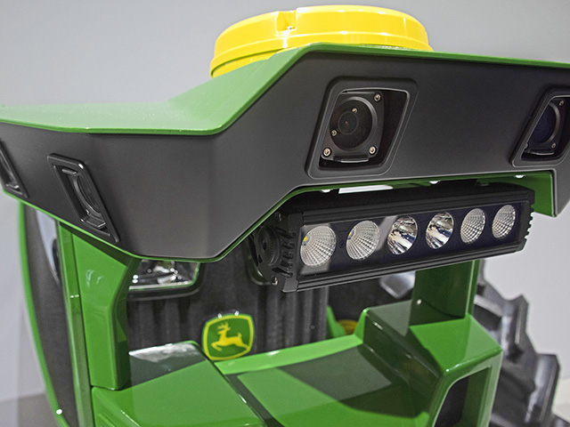 The bolt-on pod includes three sets of cameras, creating a wide 3-D image, and LIDAR sensors. It could combine with GPS to help a tractor drive down a field. (Progressive Farmer image by Joel Reichenberger)