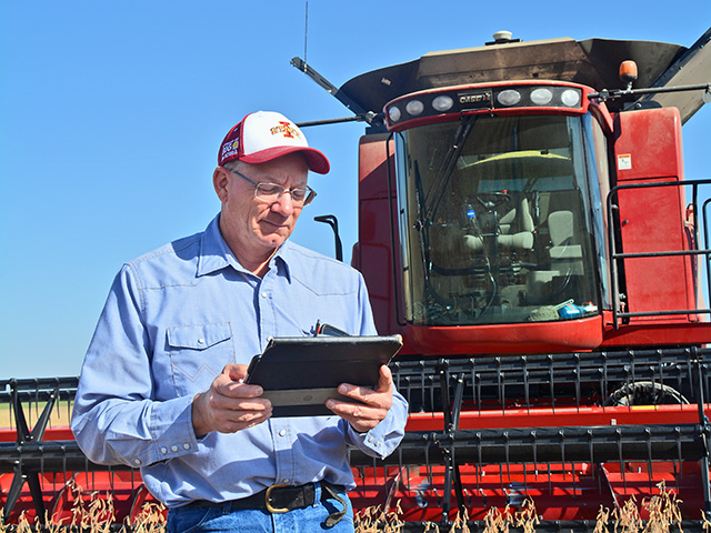 Tom Oswald of Cleghorn, Iowa, can pull up field and yield maps anytime on his iPad to help make management decisions. (Progressive Farmer image by Matthew Wilde)
