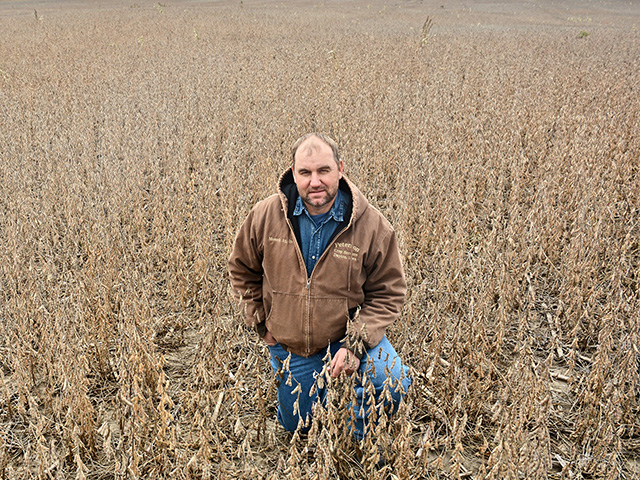 Mark Muench, of Ogden, Iowa, broadcast-seeds soybeans to maximize time, equipment and yield. (Progressive Farmer image by Matthew Wilde)