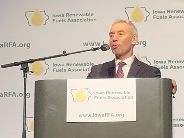 U.S. Deputy Secretary of Agriculture Stephen Censky tells an audience at the Iowa Renewable Fuel Summit on Thursday that EPA efforts to account for small-refinery exemptions will help. (DTN photo by Todd Neeley)