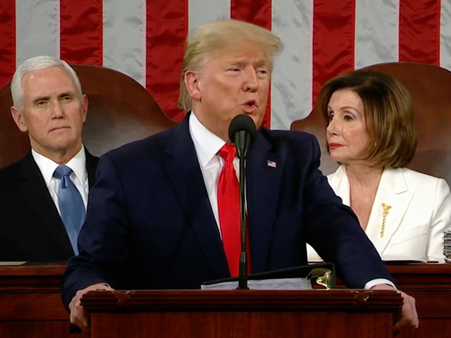 "President Donald Trump talked about the economy under his presidency during the State of the Union speech on Tuesday night. Trump said the country is seeing a ""blue-collar boom."" (Photo from video stream)"