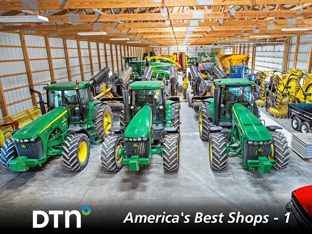 Seventy feet of cold storage gives Midlakes Custom Services covered space for its large line of tractor and forage equipment. (DTN/Progressive Farmer photo by Mark Moore)