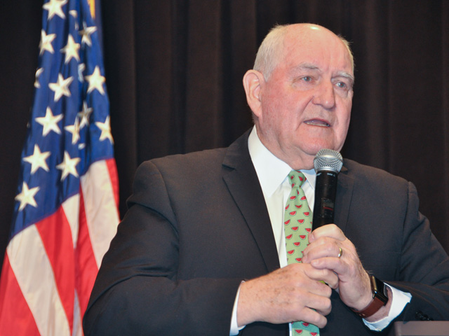 Agriculture Secretary Sonny Perdue spoke about creating a more sustainable, resilient agricultural industry at USDA's 96th annual Agricultural Outlook Forum. (DTN photo by Emily Unglesbee)