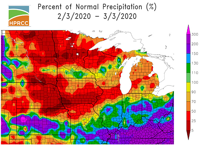 Mostly less than 50% of normal precipitation in the past 30 days over the northern and Western Corn Belt has allowed some easing of wet soil conditions. (HPRCC graphic)