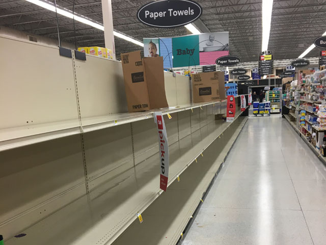 This is the scene playing out in many U.S. grocery stores, where panic buying has been rampant because of the fear over the spread of the coronavirus. (Picture by Kelly Moshier)