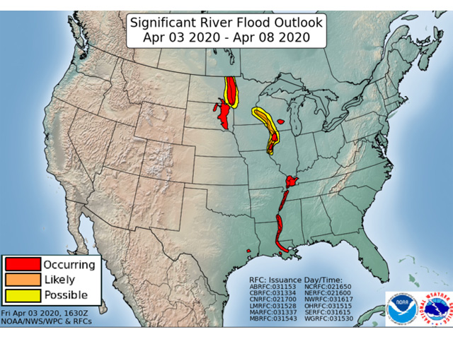 Flood forecasts through April 8 show no flooding expected in the Missouri River valley itself. (NOAA graphic)