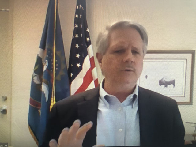 Sen. John Hoeven, R-N.D., talked about aid needs for agriculture during a Zoom meeting Monday afternoon with agricultural journalists. He indicated he would like to see USDA given funding authority of $50 billion in any new aid bill that might come out of Congress. (DTN image from Zoom)