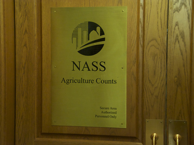 Sign outside the secure pressroom used for USDA commodity report releases. Media will no longer have early access to those reports following a Trump administration decision to end the 113-year-old practice. (DTN file photo)
