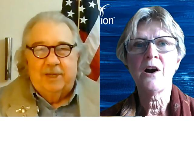 Samuel Clovis Jr., representing the Trump campaign, and Pam Johnson, representing the Biden campaign, debated farm policy planks during a forum Tuesday held by the Farm Foundation. (Photo from video livestream images)