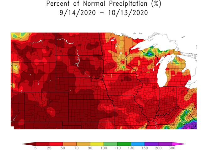 Precipitation from mid-September to mid-October is well under 50% of average across the north-central U.S. (HPRCC graphic)